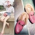 Star nuevas mujeres de la marca zapatos de moda de invierno zapatos casuales plana hebilla de metal negro/púrpura/color de rosa xz0019