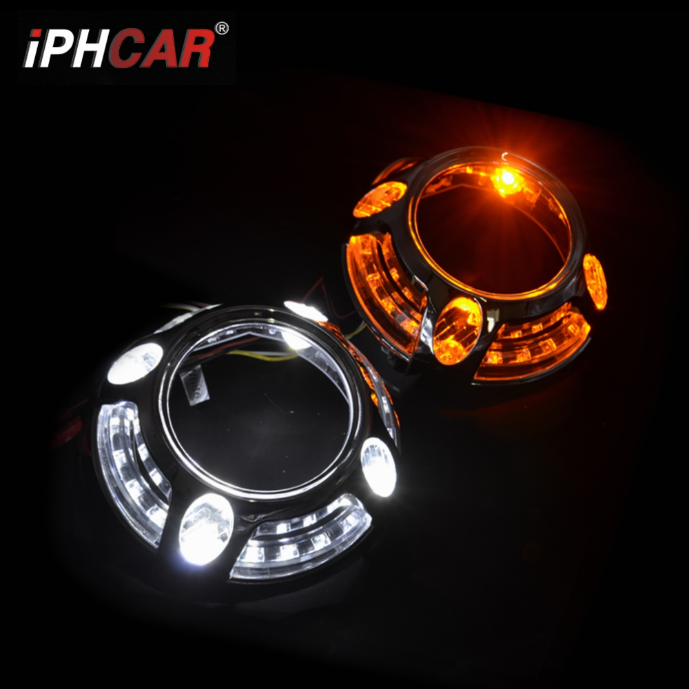 2pcs 3.0 inch Projector lens shrouds led day running angel eyes white color yellow hid xenon kit headlight LHD RHD Modify