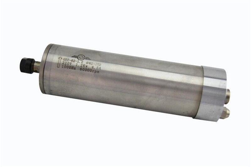 1.5HP 1.2kw ER11 60000 об/мин точность высокоскоростной шпиндель мотор водяное охлаждение 220VAC 4.5A 1000 Гц 62 мм с наружной резьбой квт. шпиндель с 4 подшип