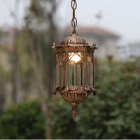 Outdoor Led Vintage Bronze Lantern Ceiling Pendant Ip55 AC E27 Cottage Polished Steel Wall Lighting Garden Exterior Lamp Fixture