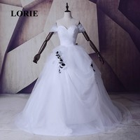 LORIE 2017 New Arriva Ball Gown Sweetheart Long Wedding Dress White and Black Wedding Dresses Ruffle Applique Tulle Bridal Gown