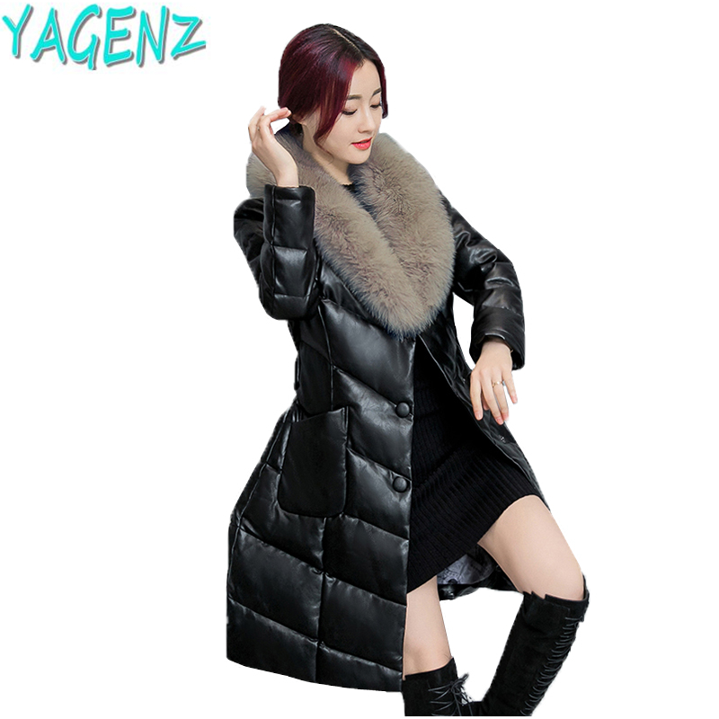 YAGENZ 2017 Winter Fashion New Women Clothes Cotton Down Jacket Coat Large size Fur collar Thickening Warm Long Female Outerwear 2017 winter new clothes to overcome the coat of women in the long reed rabbit hair fur fur coat fox raccoon fur collar
