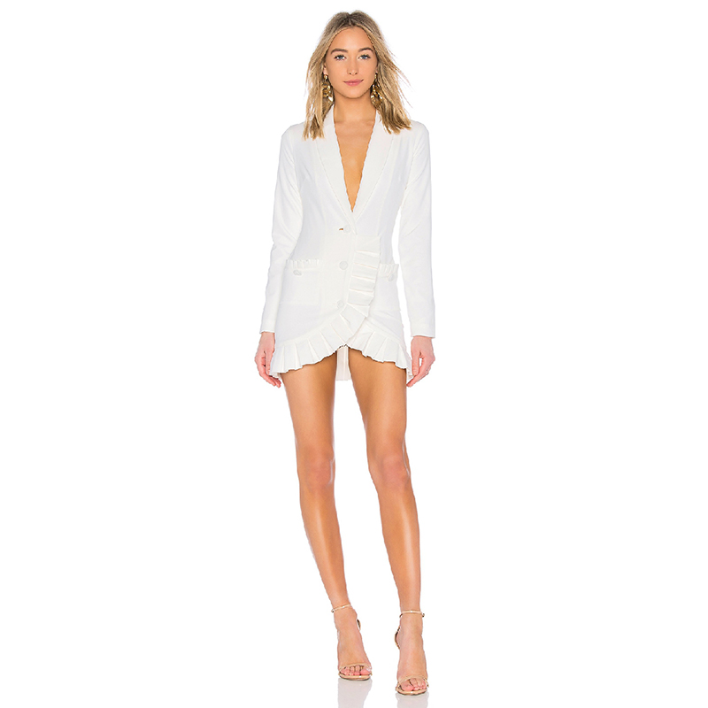 Kadın Giyim'ten Elbiseler'de YÜKSEK KALITE 2019 Yeni Şık Tasarımcı Elbise kadın Çentikli Yaka Fırfır Asimetrik Mini Elbise'da  Grup 1