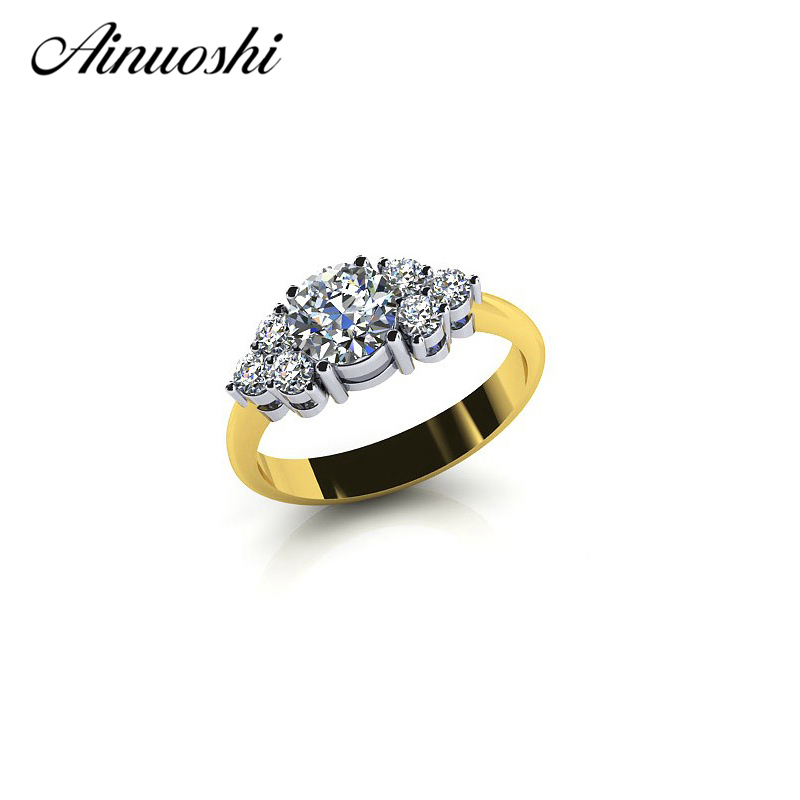 AINOUSHI 925 Sterling Silver Yellow Gold Color Ring Three Stones Round Cut Wedding Band for Women Engagement Lover Fine Jewelry