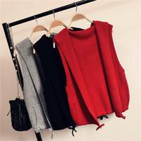 Spring Autumn Hoodies Sweater Vest Women Cardigan Jacket Jumper Sleeveless Knit Women Vest Short Sweater Jacket Outerwear C5190