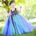 Meninas artesanais Pena de Pavão Longo Fluffy Tulle Tutu Vestido Tutu Da Menina de Flor Do Partido Do Miúdo Do Aniversário de Casamento do Dia Das Bruxas Traje 1-14Y
