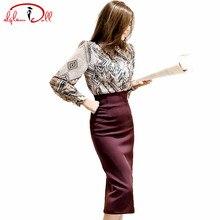 2017 Для женщин ткань длинный рукав принт Винтаж блузка рубашка Карандаш Bodycon костюм юбка Двойка работа платье осень Повседневное Vestidos
