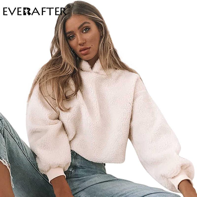 06cbe84ed54c4a EVERAFTER Apricot hooded sweatshirt women lantern Sleeve loose cropped  hoodies sweatshirts 2018 autumn winter female pullovers