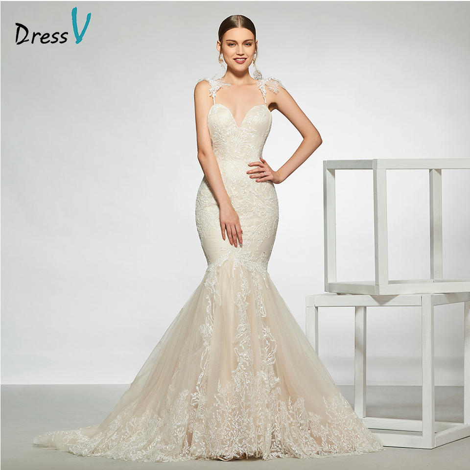 Dressv elegant spaghetti straps lace wedding dress sleeveless mermaid floor length simple bridal gowns