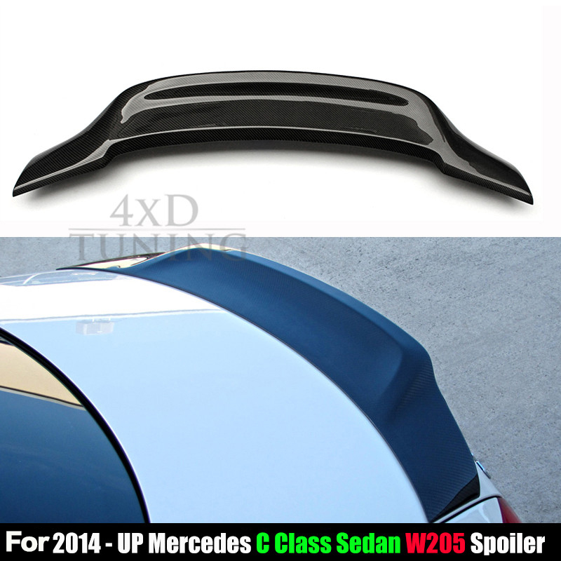 R Style for Mercedes W205 Spoiler 2014 2015 2016 C Class W205 C180 C200 C250 C260 Carbon Fiber Rear Spoiler Trunk Wing mercedes w211 carbon fiber amg look spoiler back trunk rear wing for benz e class w211 2003 2009 e320 amg style spoiler