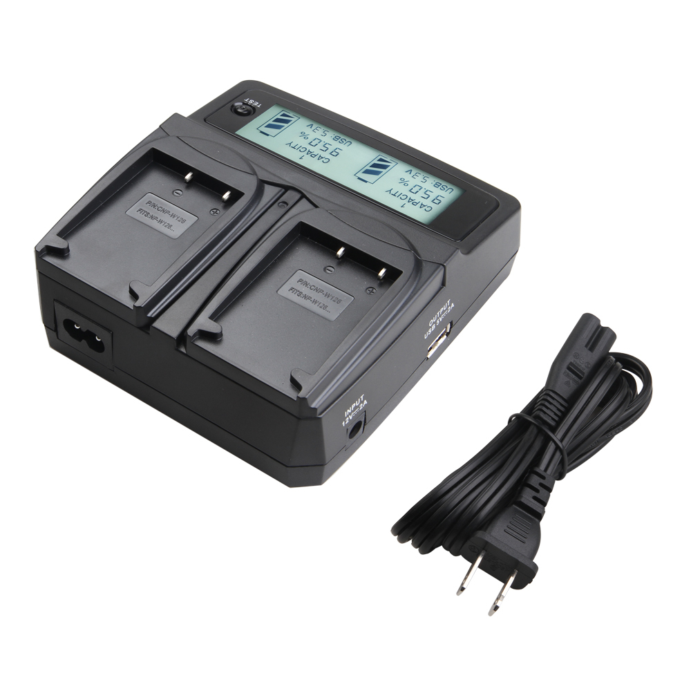 Udoli NP-W126 NPW126 W126 Battery Dual Charger For FUJIFILM HS50 HS35 HS33 HS30EXR XA1 XE1 X-Pro1 XM1 <font><b>HS35EXR</b></font> HS50EXR Cameras image
