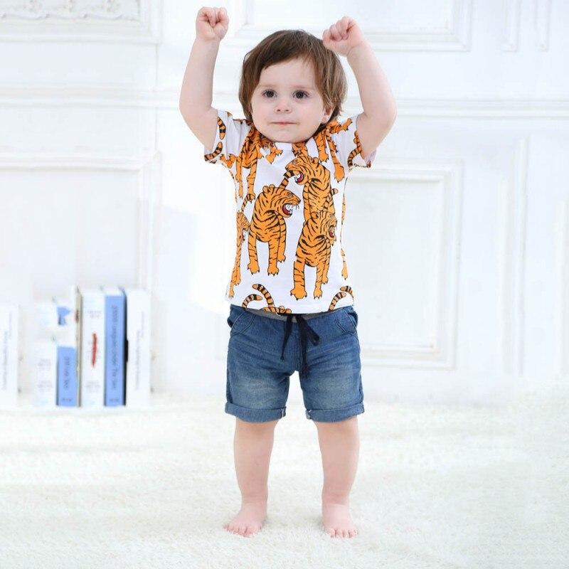Toddler Shirts Animal-Print Blouse Tops Short-Sleeve Tigers Baby Children Summer Wear