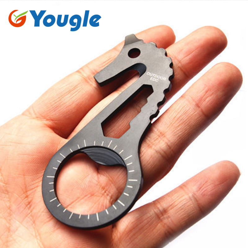 YOUGLE EDC Gear Multi Tool Tactical Keychain Bottle Opener Screwdriver Wrench
