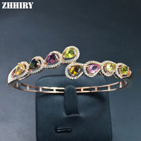 ZHHIRY Women Natural Tourmaline Gems Bracelet Genuine Solid 925 Sterling Silver Fire Color Stone Fine Jewelry
