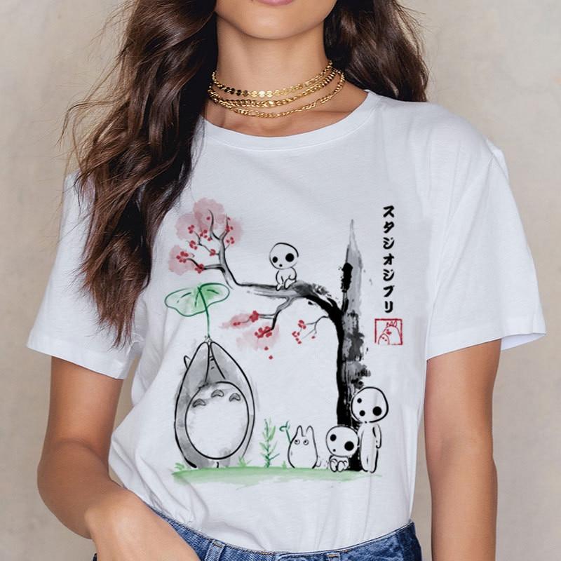 New Totoro Studio Ghibli   T     Shirt   Women Harajuku Ullzang   T     Shirt   Fashion 90s Anime   T  -  shirt   Funny Cartoon TShirts Top Tees Female