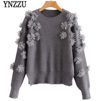 YNZZU 2019 New Spring Floral Sweet Sweater Women Gray O neck Long Sleeve Loose Knitted Pullover Female Jumper Women Tops YT504