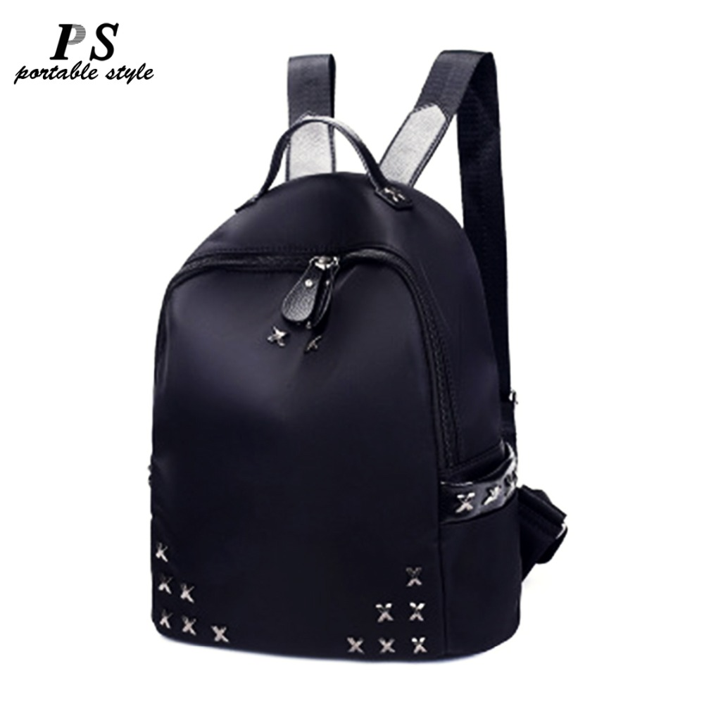 2019 Fashion Casual Women Rivet Backpack Black School Bags For Teenage Female Girls Small Back pack Women Leather Shoulder Bag