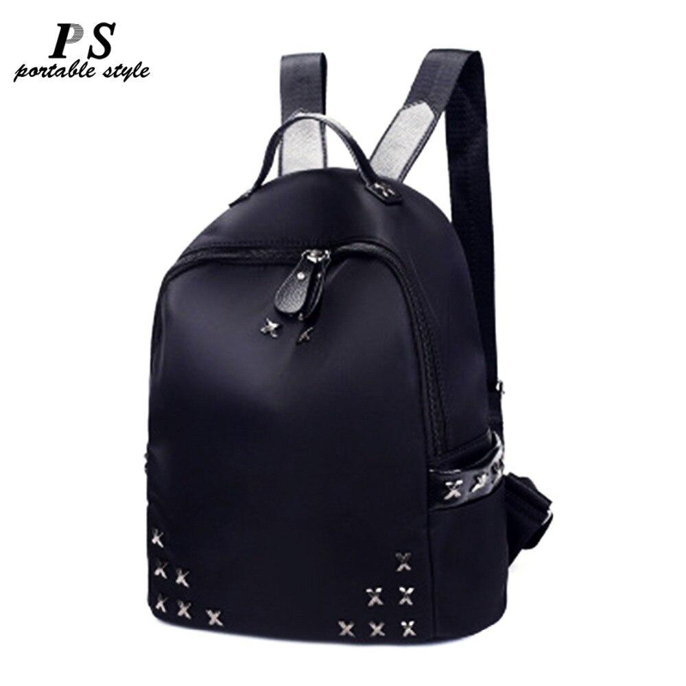 2019 Fashion Casual Women Rivet Backpack Black School Bags For Teenage Female Girls Small Back Pack Women Leather Shoulder Bag