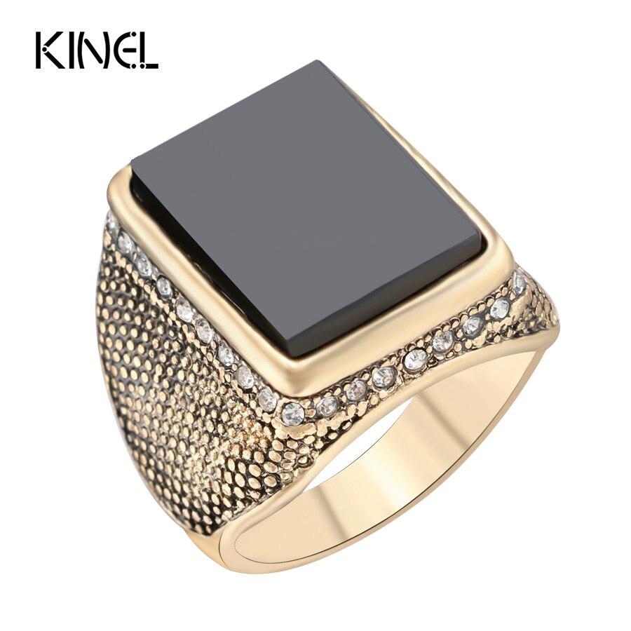Hot Black Ring 2017 Fashion Gold Color Big Square Wedding Men\'s ...