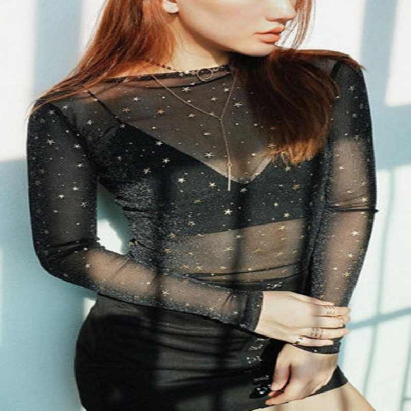 2020 Vrouwen Nieuwe Mode Sexy Effen See-Through Shiny Sterren Sequin Sheer Lange Mouwen Mesh Slanke Top Shirts hot