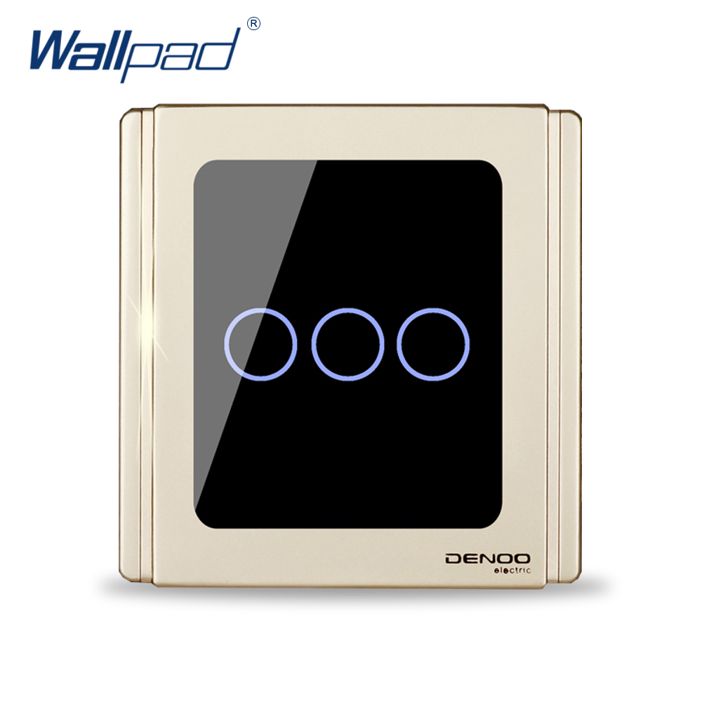 2017 New Arrival 3 Gang 2 Way Wallpad Luxury Wall Light Touch Switch 1.1mm Mirror Panel Backlight Indicator new arrival 1 gang 1 way wallpad luxury wall light switch wooden panel push button switches interrupteur