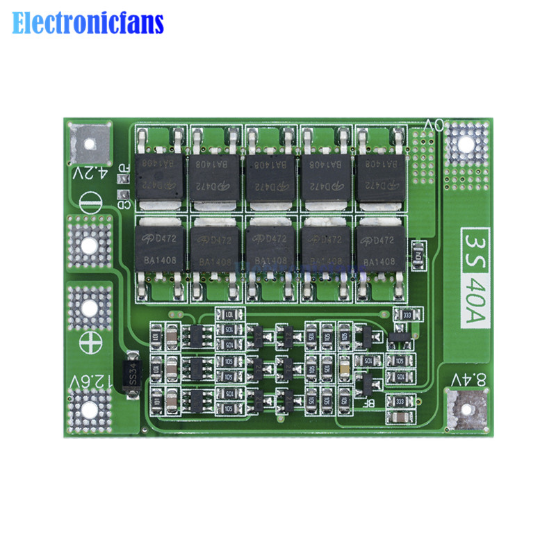 3S 40A Li-ion Lithium Battery Charger Protection Board PCB BMS For 40A Current Drill Motor 11.1V 12.6V Lipo Cell Module Enhanced