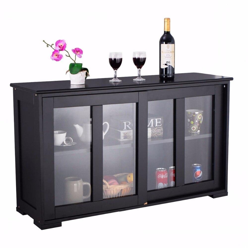 Armoire de rangement pour la maison Buffet placard porte coulissante en verre étagère garde-manger bois armoires de cuisine meubles HW53867