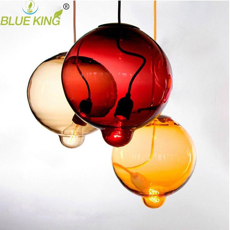 Modern colorful glass pendant light hanging lamp G9 led suspension lamp for bar restaurant indoor lighting fixture single light