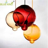 Modern Colorful Glass Pendant Light Hanging Lamp 1 Head G9 Led Suspension Lamp For Bar Restaurant