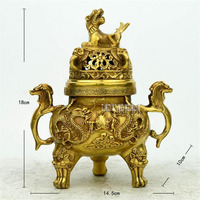 New Art Collection Chinese Brass Two Dragons Incense Burner / Retro Nostalgia Metal Desktop Decoration Crafts Censer Hot Sale