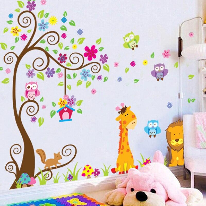Foam Stickers Kinderkamer.Bos Kleurrijke Boom Giraffe Muursticker Voor Kids Kamers Kinderen