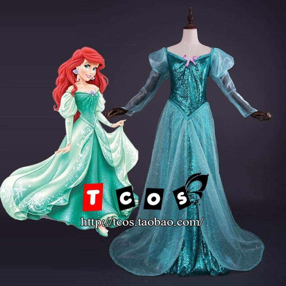 New 2015 Custom Made Fantasia Halloween Wedding Party Little Princess Ariel Dress Women Adult Ariel Mermaid Costume
