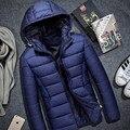 Homem casaco de inverno de Alta qualidade para baixo casaco de moletom com capuz fino inverno jaquetas de cor pura dos homens encapuzados tamanho grande 4xl parkas blusão homme