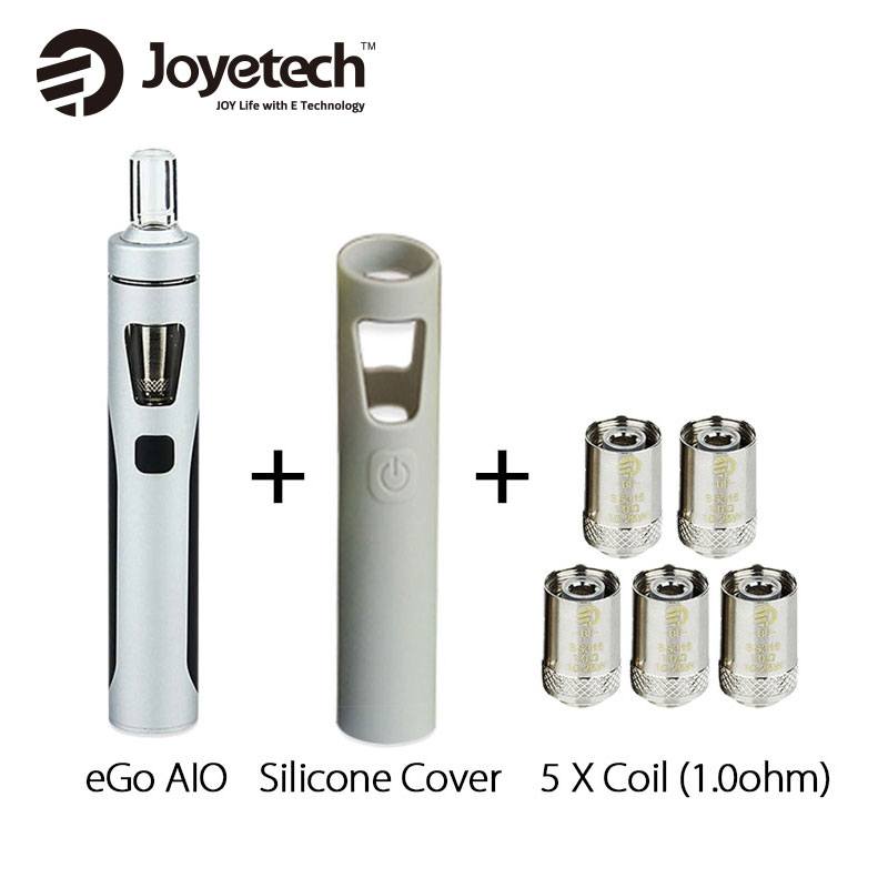 Original Joyetech eGo AIO Kit 2ml 1500mAh w/SS316 BF Coil 1.0ohm/0.6ohm Silicone Case Cover for EGO AIO Quick Vaping Pen