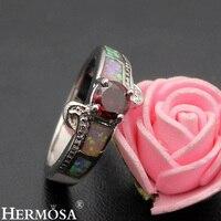 Precious Stone Jewelry Mystic Fire Australian Opal Garnet Sweetie 925 Sterling Silver Ring Size 8 DF54
