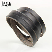 Hot Selling Men Women Multi Layers Blank Bracelets & Bangles Belt Buckle Leather 4 Wraps Bangle psl341