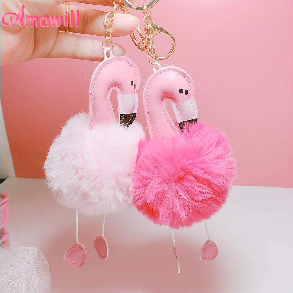 Amawill Mini Pink Flamingo Keychain Pendant Valentines Day Gift Women Girls Bags Accessories for Wedding Decorations Birthday 7D