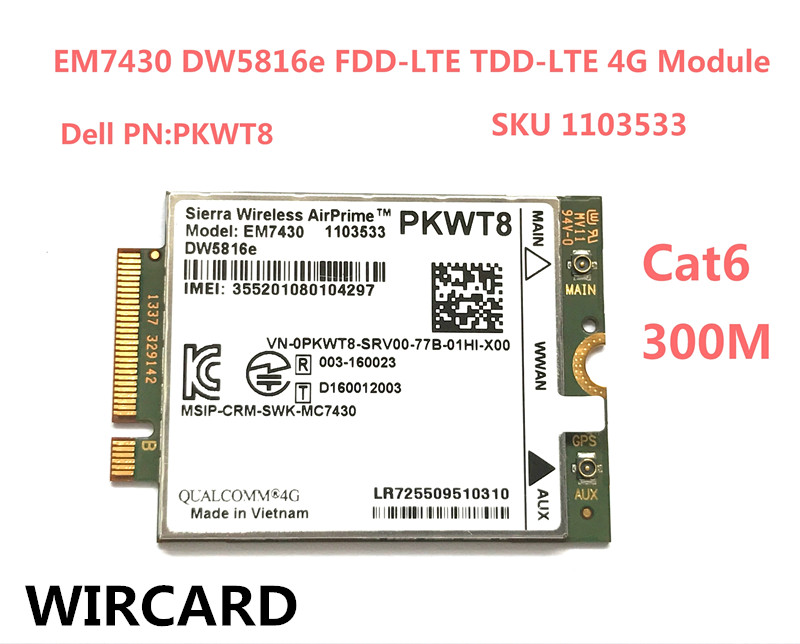 EM7430 DW5816e GOBI6000 Cat6 300M 4G Card LTE DW5816e for <font><b>DELL</b></font> Latitude 7280 7285 7290 7389 7390 7480 <font><b>7490</b></font> E7470 image
