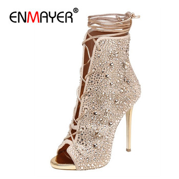 ENMAYER Cross-tied Shoes Woman High Heels Peep Toe Summer Boots Solid Motorcycle  Lace-up Ankle  Thin  43 CR787