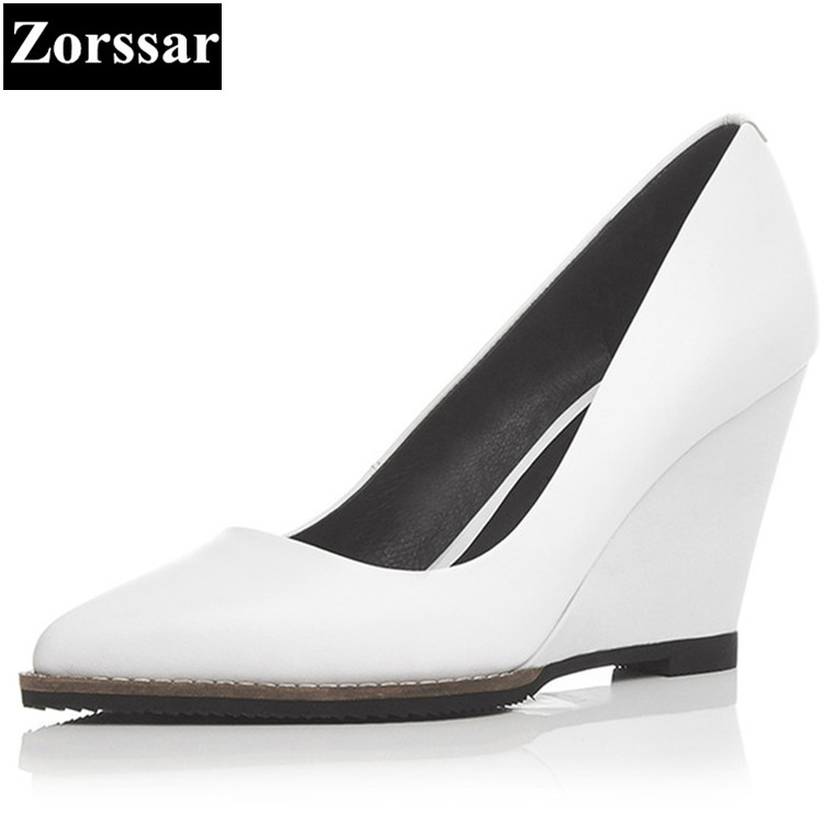 Genuine leather Womans shoes Pointed Toe wedges high heels pumps women Work shoes 2017 fashion Elegant woman office lady shoes krazing pot shallow fashion brand shoes genuine leather slip on pointed toe preppy office lady thick high heels women pumps l18