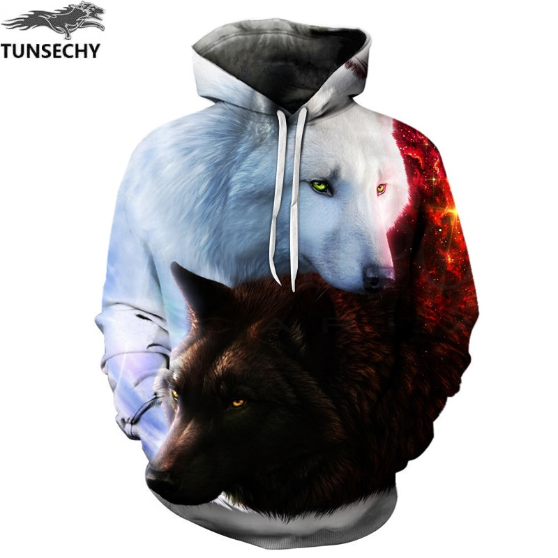 TUNSECHY Wolf Printed Hoodies Men 3D Hoodies Brand Sweatshirts Fashion Tracksuits Wholesale and retail Free transportation