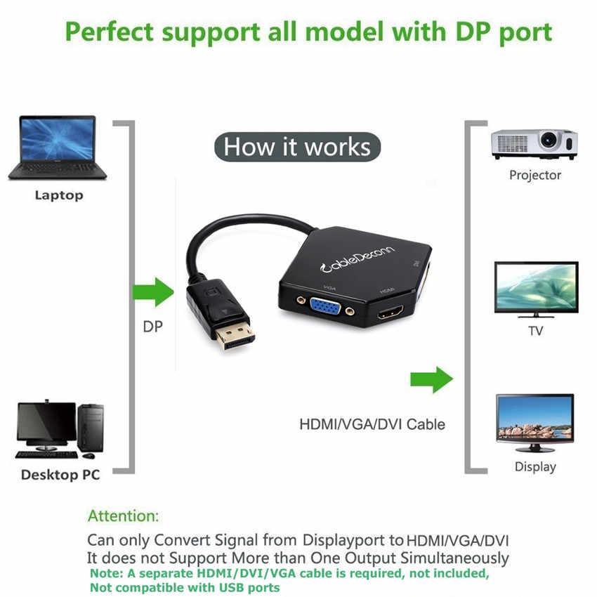 ديسبلايبورت محول إلى HDMI VGA DVI كابل ديسبلايبورت DP محول ذكر إلى أنثى متعدد ميناء ل شاشة كمبيوتر شخصي العارض HDTV