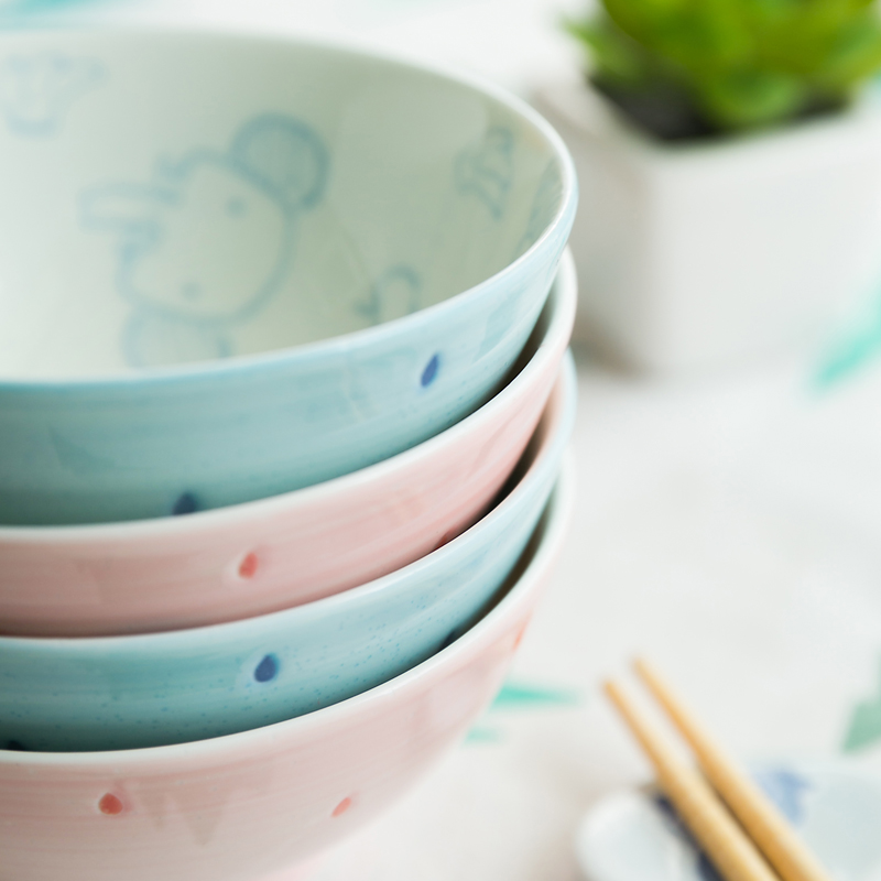 Made In Japan couples creative cartoon animal cute kid bowl ceramic bowls porcelain tableware under glazed rice soup fruit bowl