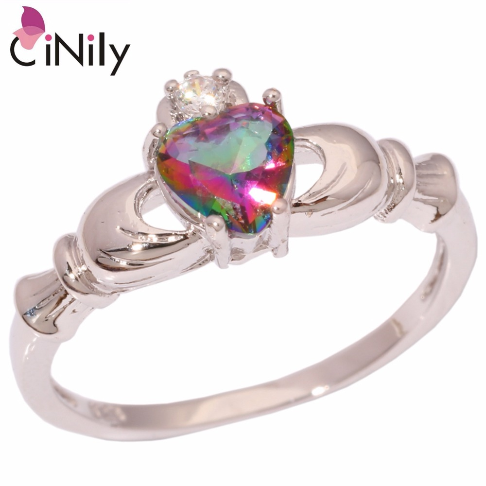 Cinily Zircon Mystic Hot-Heart Jewelry Ring-Size Silver-Plated Love Gift Women for 5-10