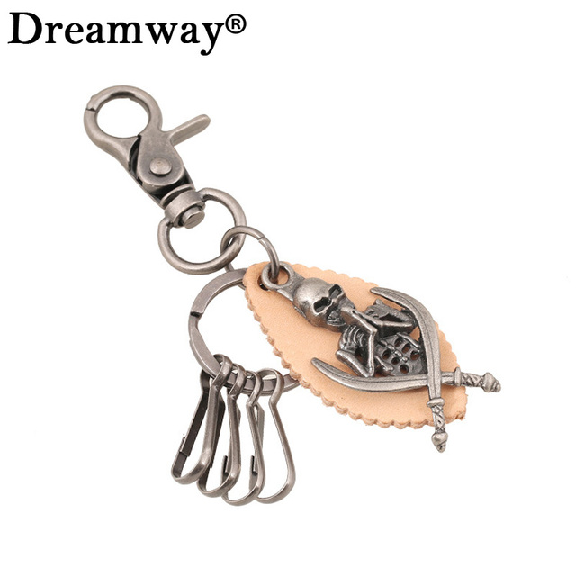 Brand Leather Key chain Vintage Skeleton Ninja Jewelry Mens Skull Keychain  Womens Leather Bag Charm Pendant hanger key rings 3edb9e2bde