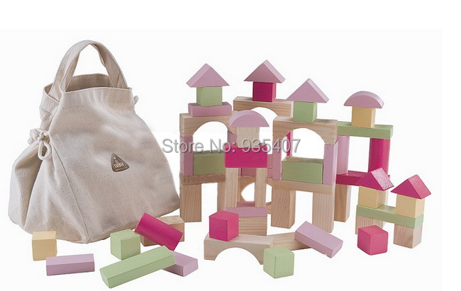 100 couleur en bois construction blocksWooden briques + Pouch