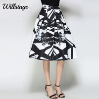 LADYBEES Women Skirts Floral Printed High Waist A Line Pleated Retro Midi Skirt Black And White