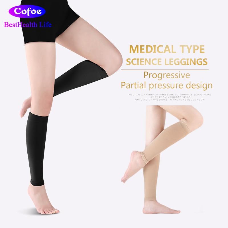 Cofoe Medical Calf Compression Sleeve Compression Stocking 23-32mmHg Level 2 Varicose Vein Socks Unisex Beige & Black A Pair ombre circle calf length socks