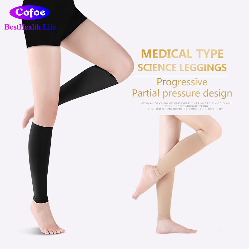 Cofoe Medical Calf Compression Sleeve Compression Stocking 23-32mmHg Level 2 Varicose Vein Socks Unisex Beige & Black A Pair