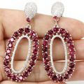 Long Big Pink Raspberry Rhodolite Garnet SheCrown Ladies Party Created  Silver Earrings 55x27mm